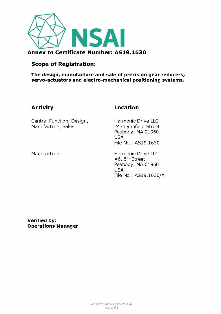 Iso 9001 harmonic drive harmonic drive harmonic drive llc is iso 90012008 and as9100 certified 1betcityfo Gallery